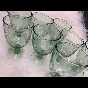 Hand blown glass wine / desert goblets (set of 8)